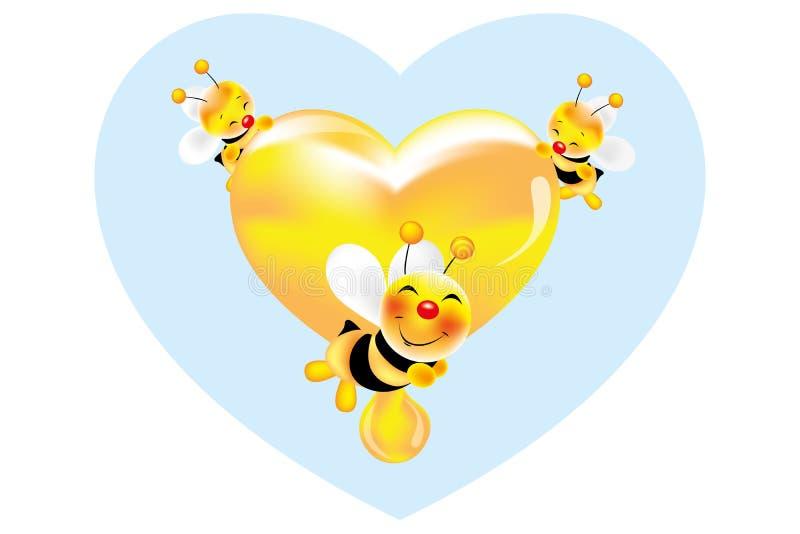 Api sorridenti adorabili che tengono un cuore di miele dorato fresco illustrazione di stock