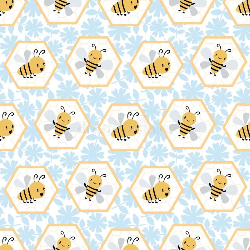 Api sveglie del miele del fumetto in cellule del favo Modello geometrico senza cuciture di vettore su fondo floreale blu e bianco illustrazione di stock