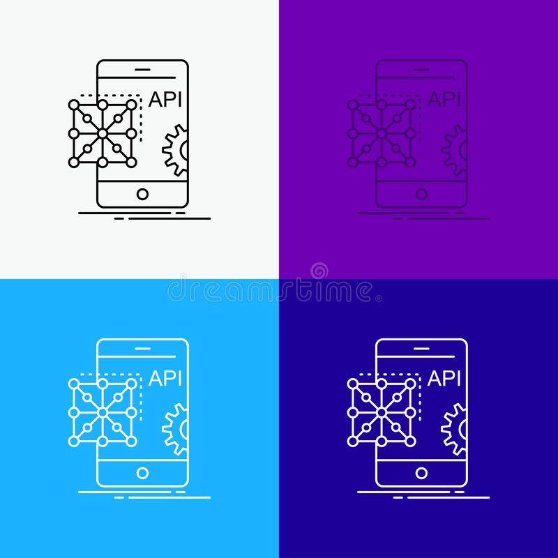 Api, Toepassing, codage, Ontwikkeling, Mobiel Pictogram over Diverse Achtergrond r Eps 10 stock illustratie
