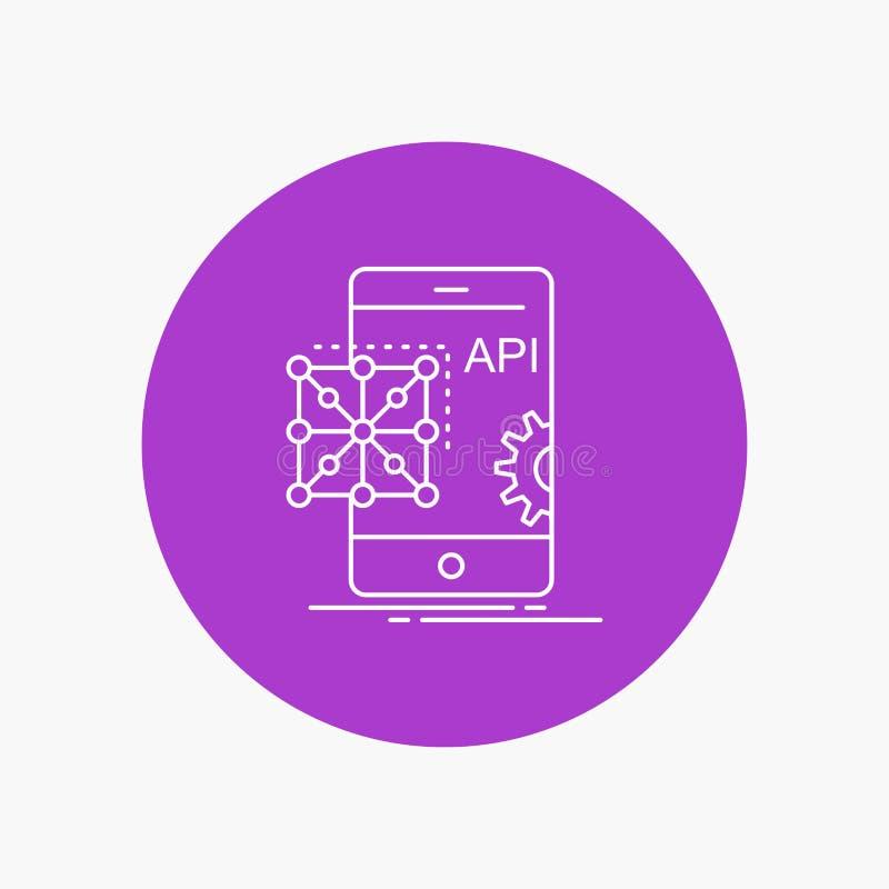 Api, Toepassing, codage, Ontwikkeling, Mobiel Wit Lijnpictogram op Cirkelachtergrond Vectorpictogramillustratie vector illustratie