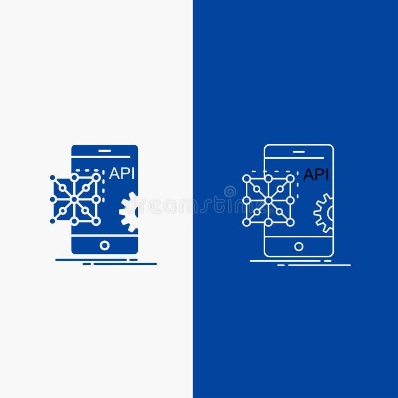 Api, Toepassing, codage, Ontwikkeling, Mobiele Lijn en Glyph-Webknoop in Blauwe kleuren Verticale Banner voor UI en UX, website o royalty-vrije illustratie