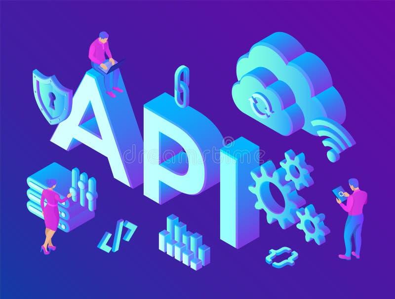 API Toepassing programmeringsinterface Software-ontwikkelinghulpmiddel, informatietechnologie concept Technologieproces van Softw vector illustratie