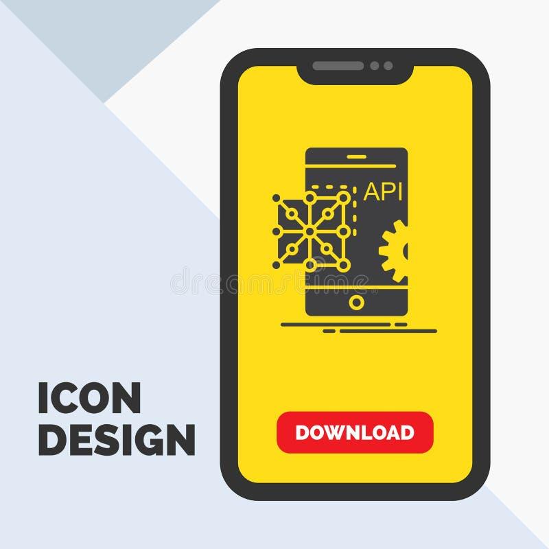 Api, zastosowanie, cyfrowanie, rozwój, Mobilna glif ikona w wiszącej ozdobie dla ściąganie strony ? ilustracja wektor