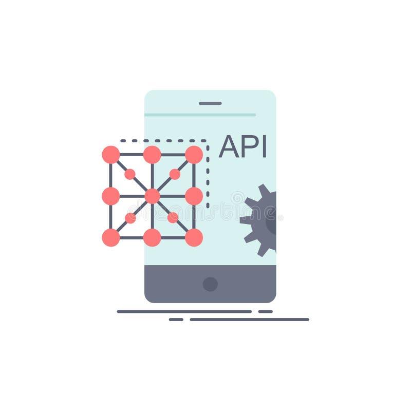 Api, zastosowanie, cyfrowanie, rozwój, Mobilny Płaski kolor ikony wektor ilustracji