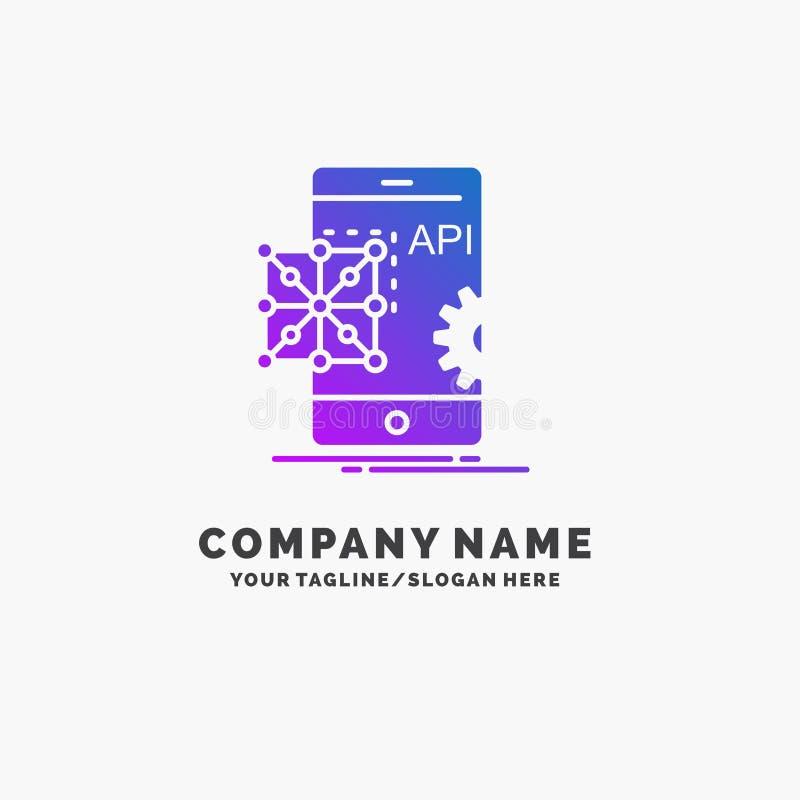 Api, zastosowanie, cyfrowanie, rozwój, Mobilny Purpurowy Biznesowy logo szablon Miejsce dla Tagline royalty ilustracja
