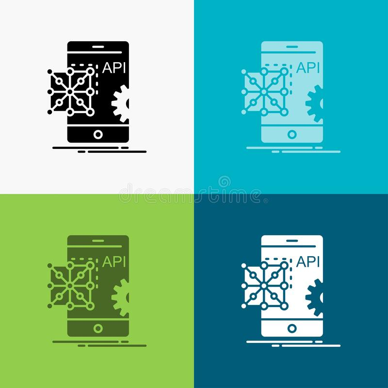 Api, zastosowanie, cyfrowanie, rozw?j, Mobilna ikona Nad R??norodnym t?em glifu stylu projekt, projektuj?cy dla sieci i app 10 ep ilustracji