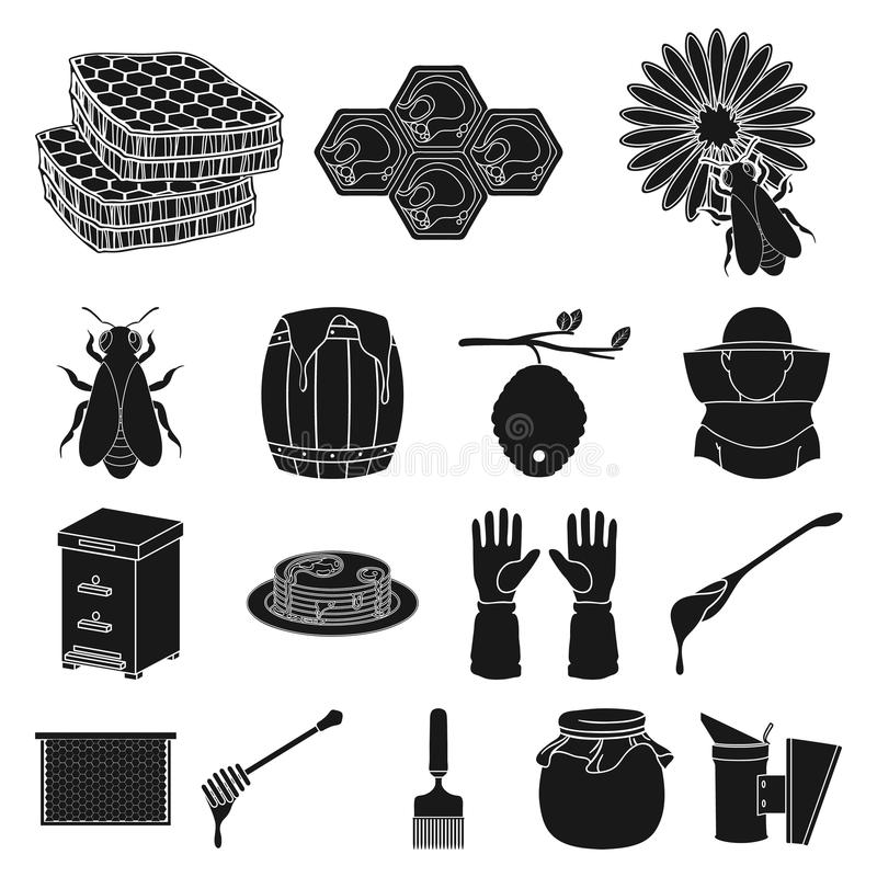 Apiary and beekeeping black icons in set collection for design.Equipment and production of honey vector symbol stock web stock illustration