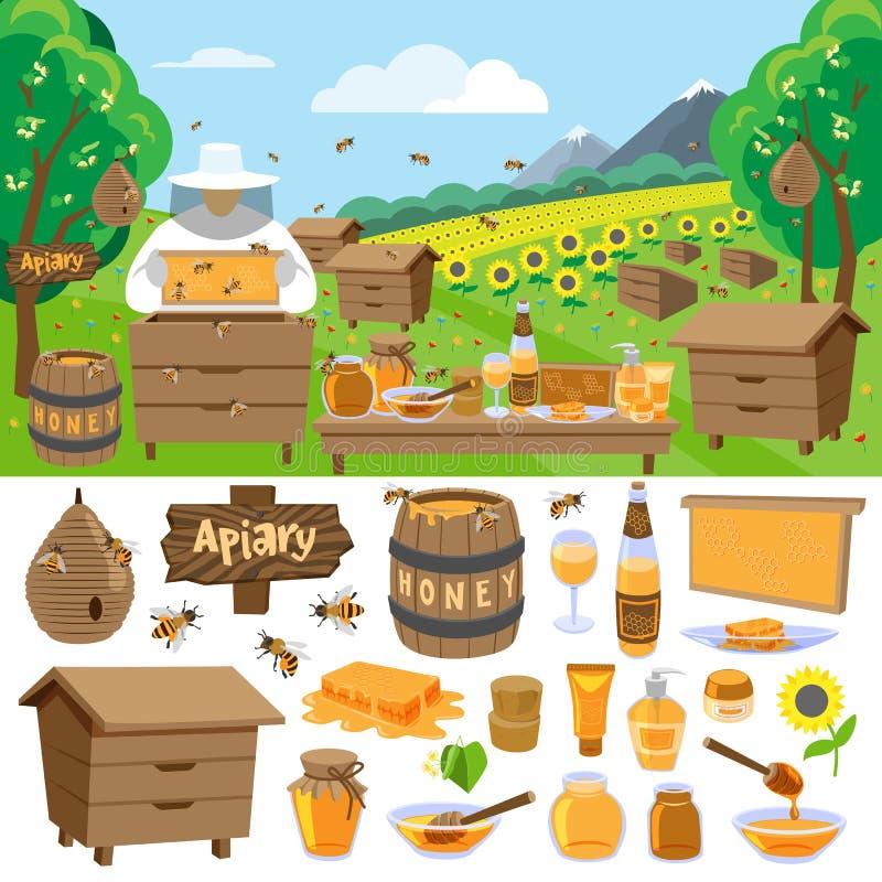 Apiary farm vector honey making icons illustration royalty free illustration