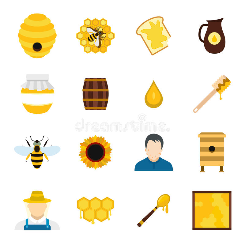 Apiary flat icons set vector illustration