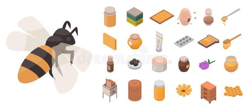 Apiary icon set, isometric style royalty free illustration