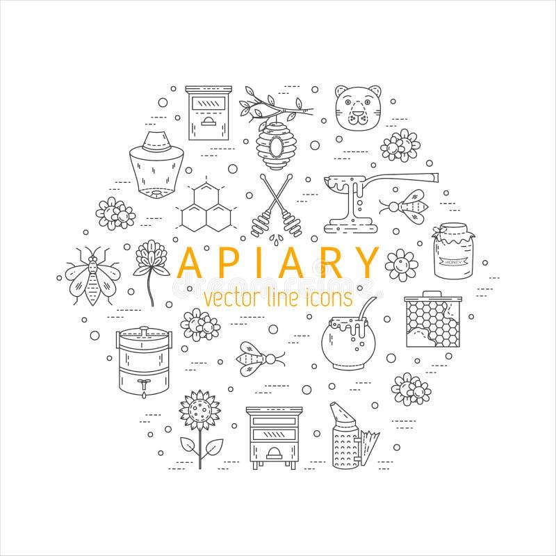 Free Apiary Icons Set Stock Photography - 85640792