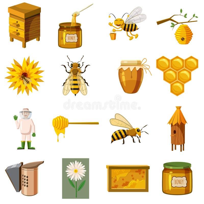 Apiary icons set, cartoon style stock illustration