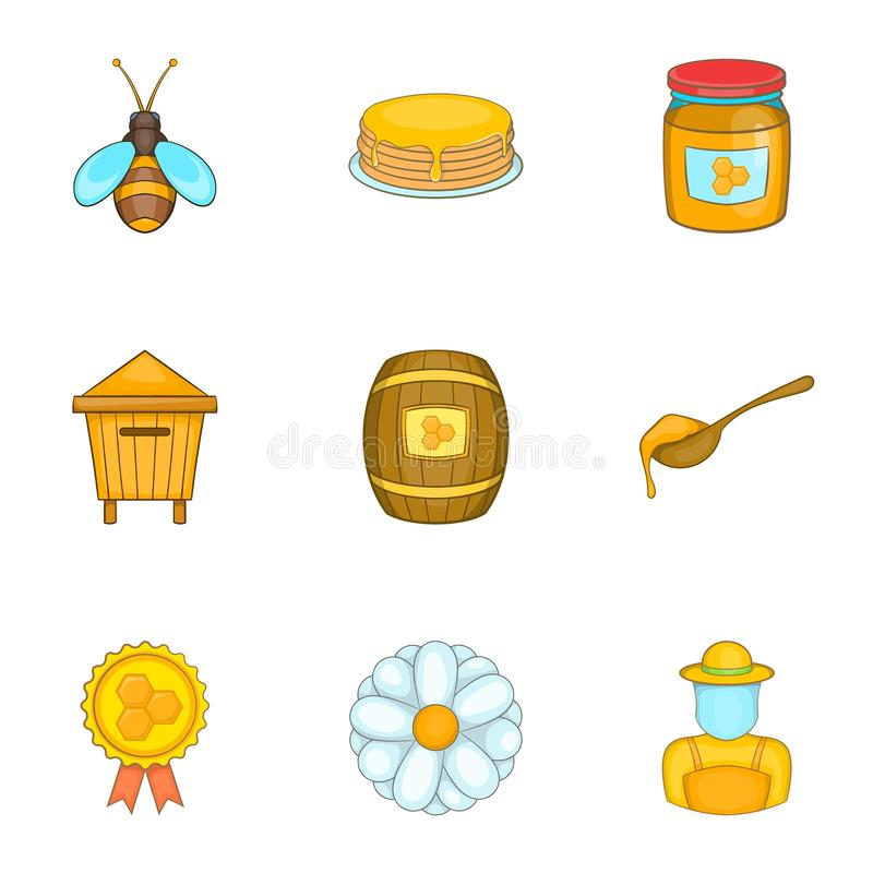 Apiary icons set, cartoon style. Apiary icons set. Cartoon illustration of 9 apiary vector icons for web vector illustration