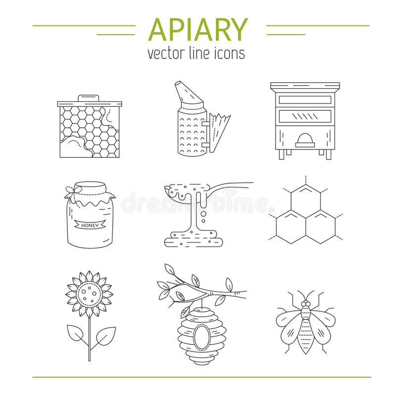 Free Apiary Line Icons Set Stock Images - 85640784