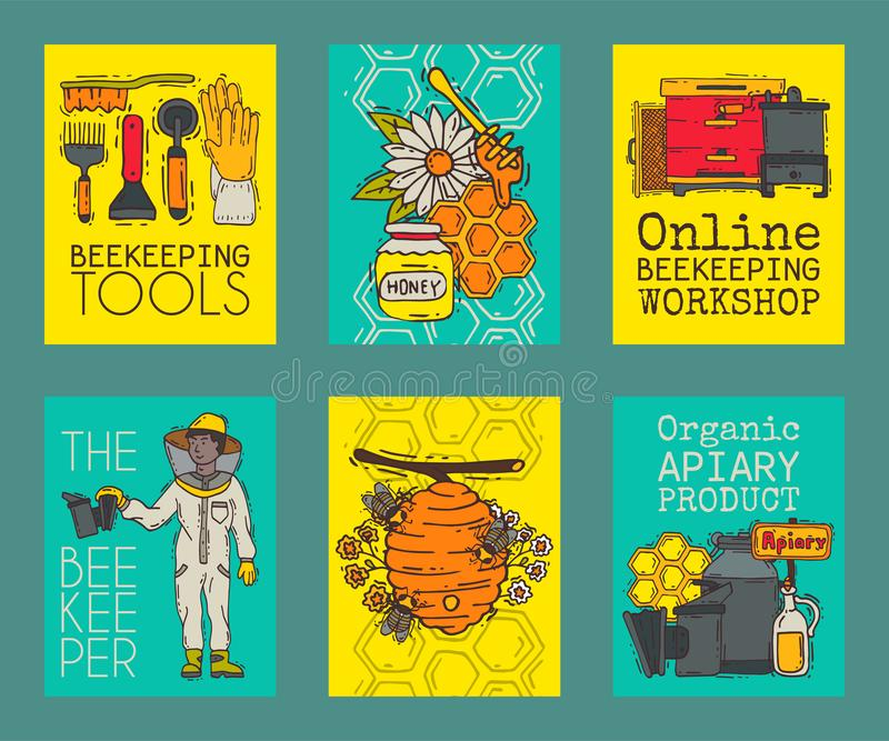 Apiary set of cards vector illustration. Beekeeping tools. Online beekeeping workshop. Beekeeper in protective suit with vector illustration