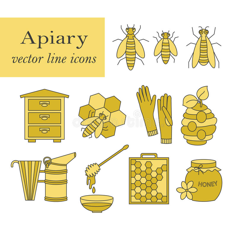 Apiary vector thin line icons set. royalty free illustration