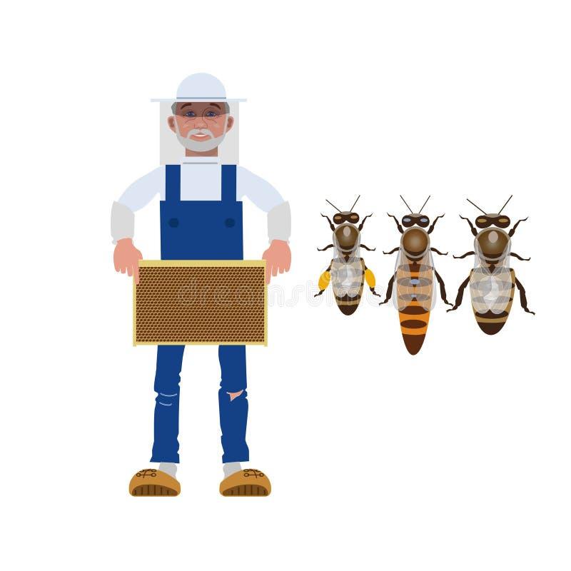 Apiculteur avec des abeilles illustration de vecteur