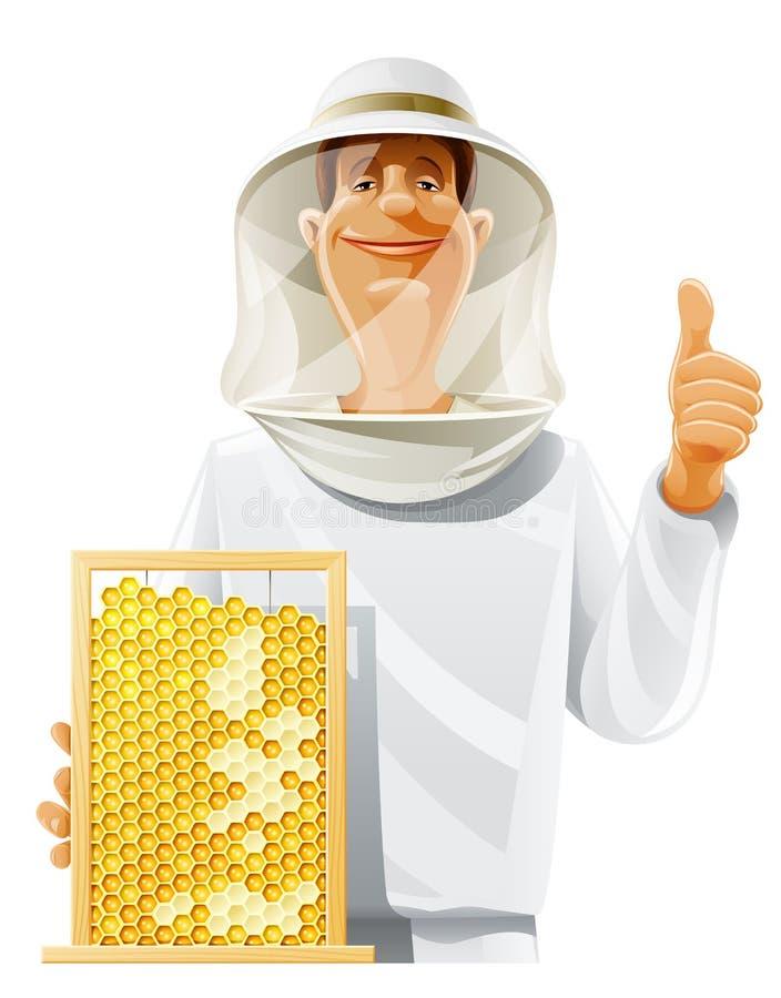 Apiculteur avec la ruche d'abeille illustration de vecteur
