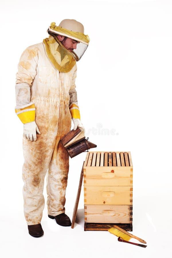 Apiculteur fumant une ruche photos stock