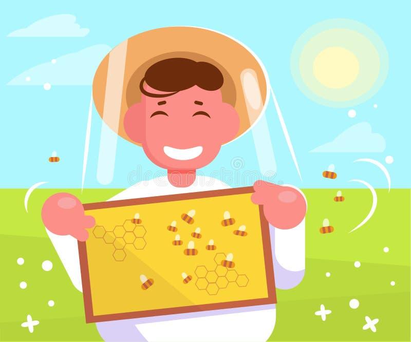 Apiculteur Vector cartoon Rassemblement d'isolement de miel d'art illustration libre de droits
