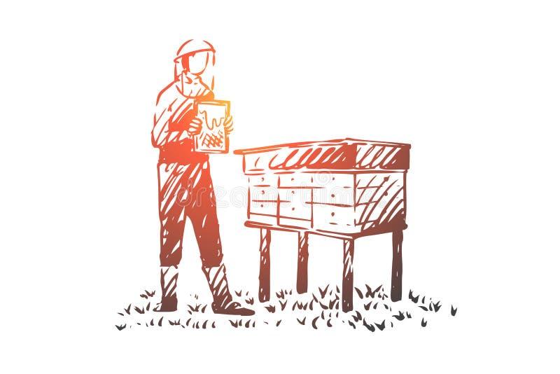 Apicultor, agricultura, granja, abeja, concepto del colmenar Vector aislado dibujado mano libre illustration