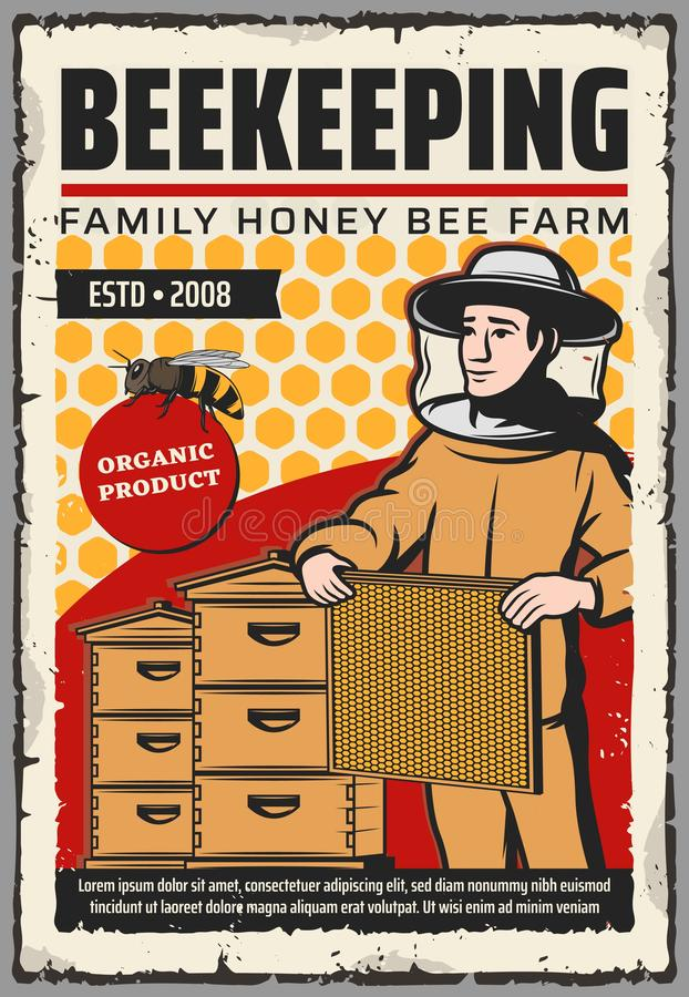 Apicultor con la abeja de la miel, panales, colmenas stock de ilustración