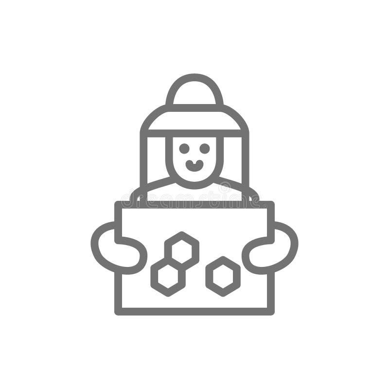 Apicultor con la línea de marco del panal icono Aislado en el fondo blanco stock de ilustración