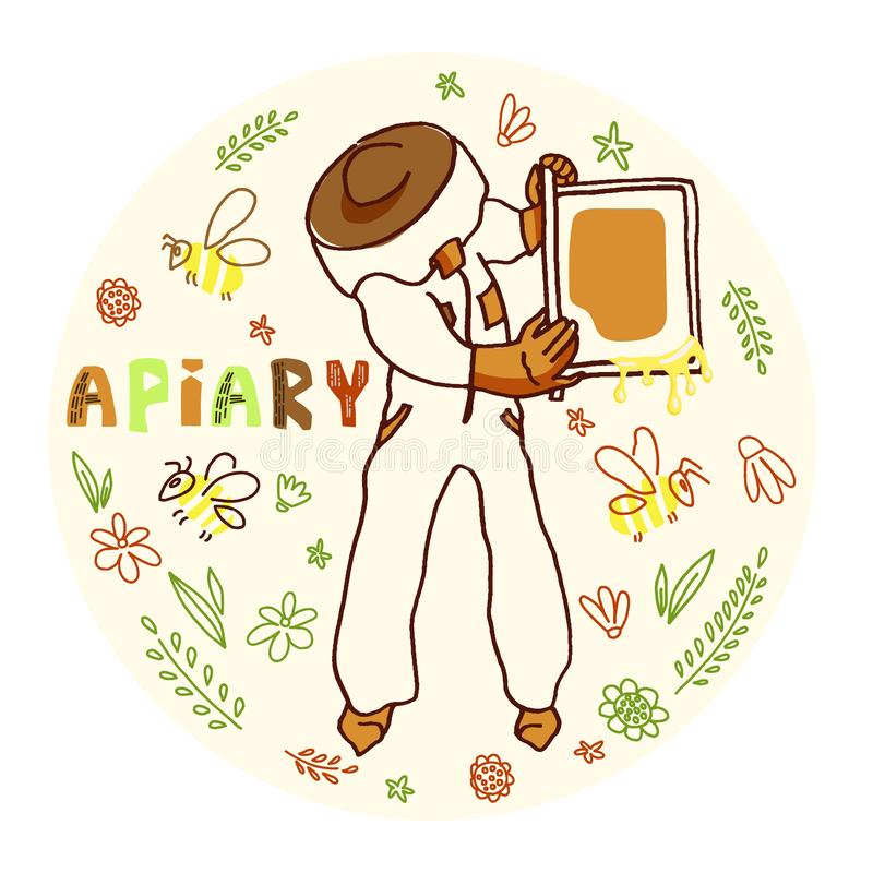 Apicultor con la miel libre illustration