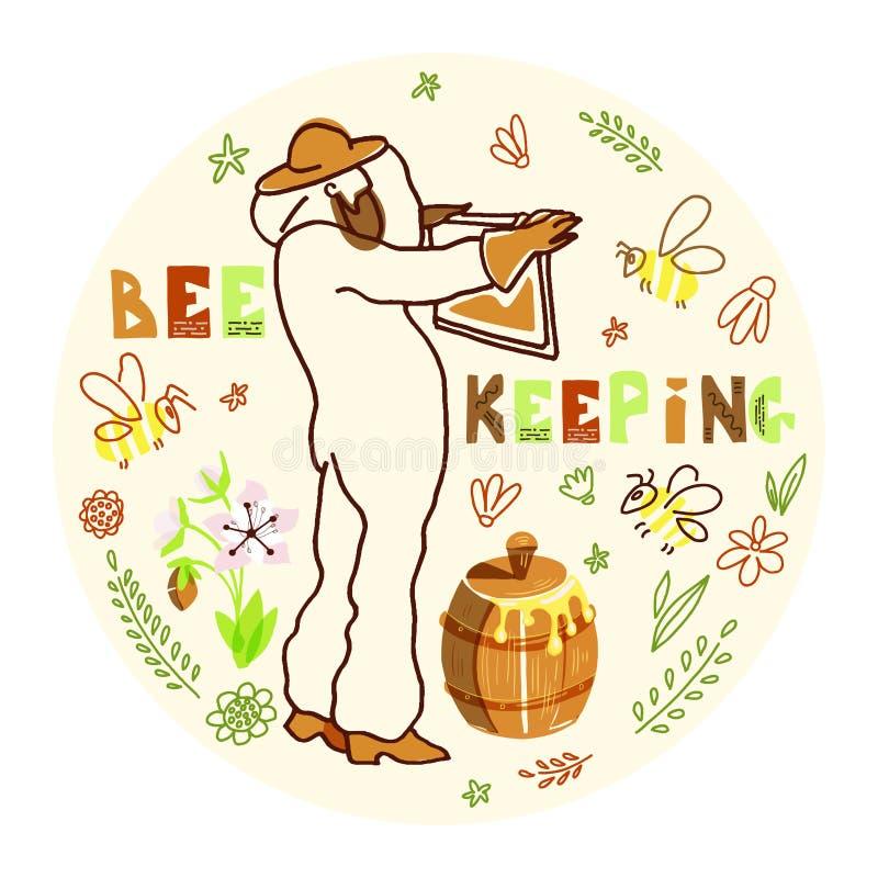 Apicultor con la miel stock de ilustración