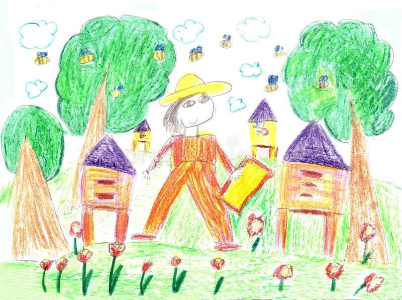 Apicultor del dibujo del ` s del niño en un campo que lleva a cabo el marco del panal ilustración del vector