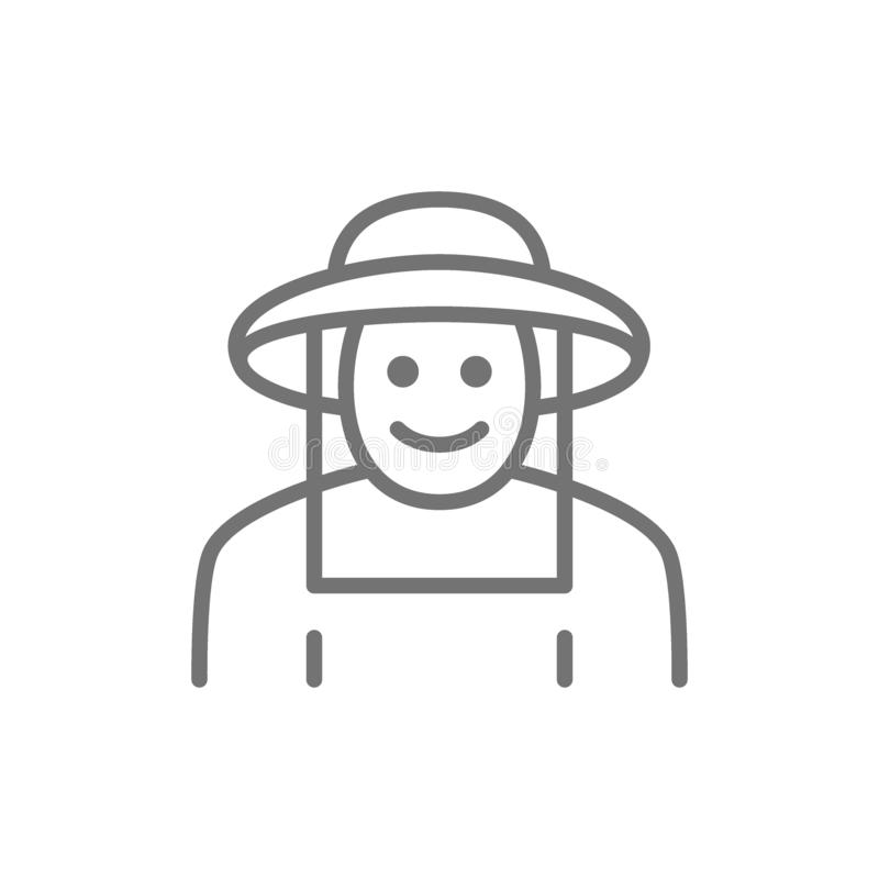 Apicultor en la línea icono de la ropa protectora Aislado en el fondo blanco ilustración del vector