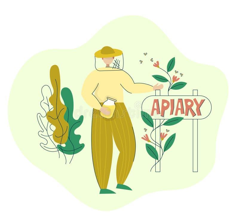 Apicultor en un soporte del traje protector cerca del indicador del colmenar con un tarro de miel Proceso de producci?n org?nico  stock de ilustración
