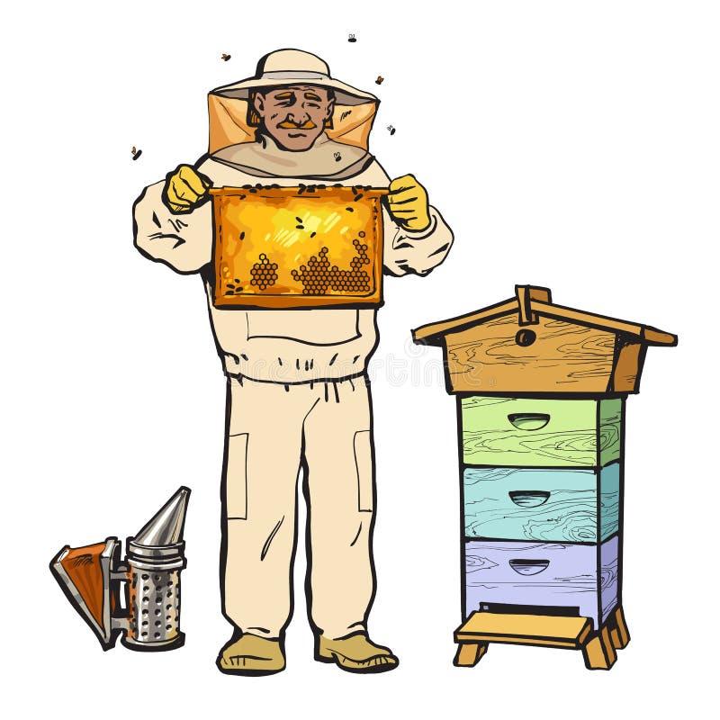 Apicultor na engrenagem protetora que guarda o favo de mel e o fumador ilustração royalty free