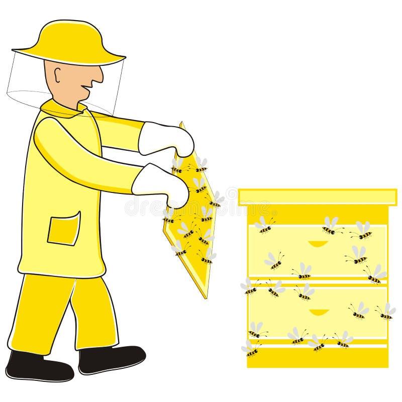 Apicultor y abejas, ejemplo del vector stock de ilustración