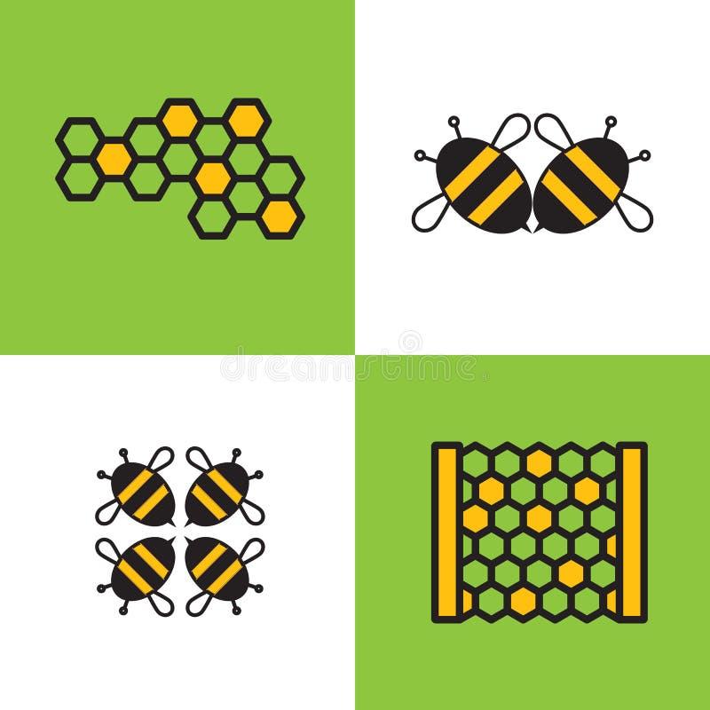 Apicultura del emblema cuatro o del logotipo, compañía de la miel o tienda con la imagen de abejas y del panal stock de ilustración