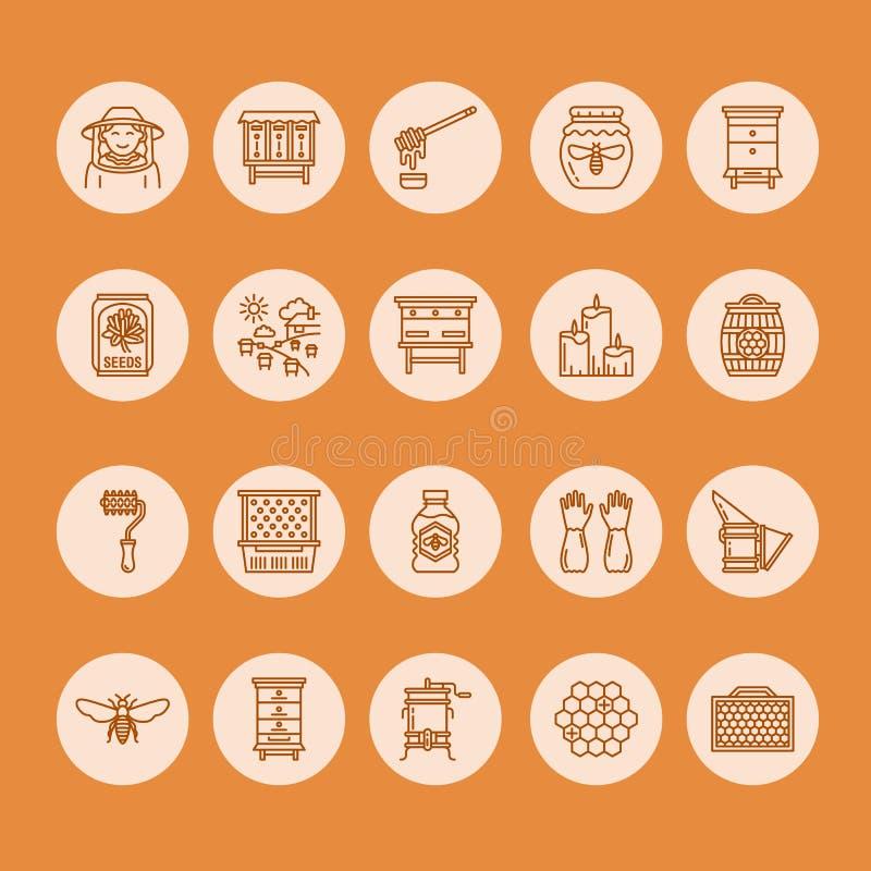 Apicultura, línea iconos de la apicultura El equipo del apicultor, miel que procesa, abeja, colmenas mecanografía, los productos  ilustración del vector