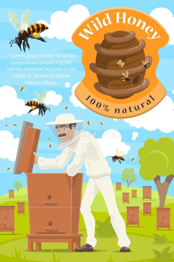 Apicultura y apicultor en el colmenar de la miel libre illustration