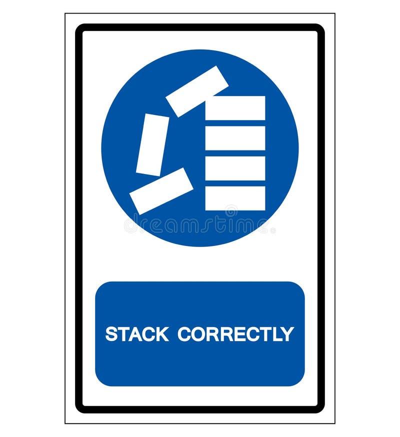 Apile correctamente la muestra del símbolo, ejemplo del vector, aislante en la etiqueta blanca del fondo EPS10 ilustración del vector