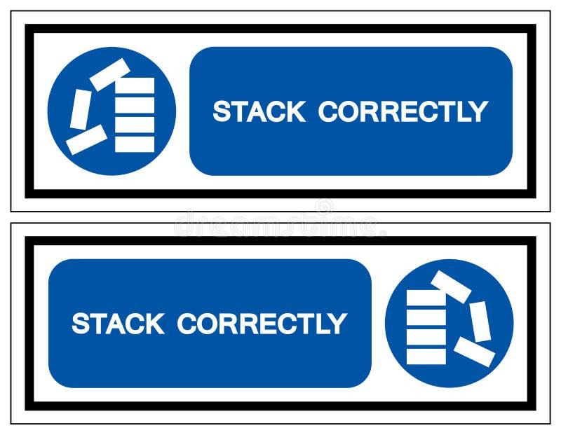 Apile correctamente la muestra del símbolo, ejemplo del vector, aislante en la etiqueta blanca del fondo EPS10 libre illustration