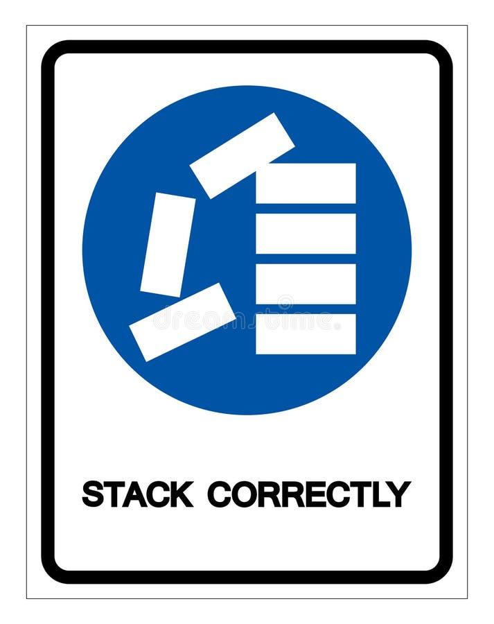 Apile correctamente la muestra del símbolo, ejemplo del vector, aislante en la etiqueta blanca del fondo EPS10 stock de ilustración
