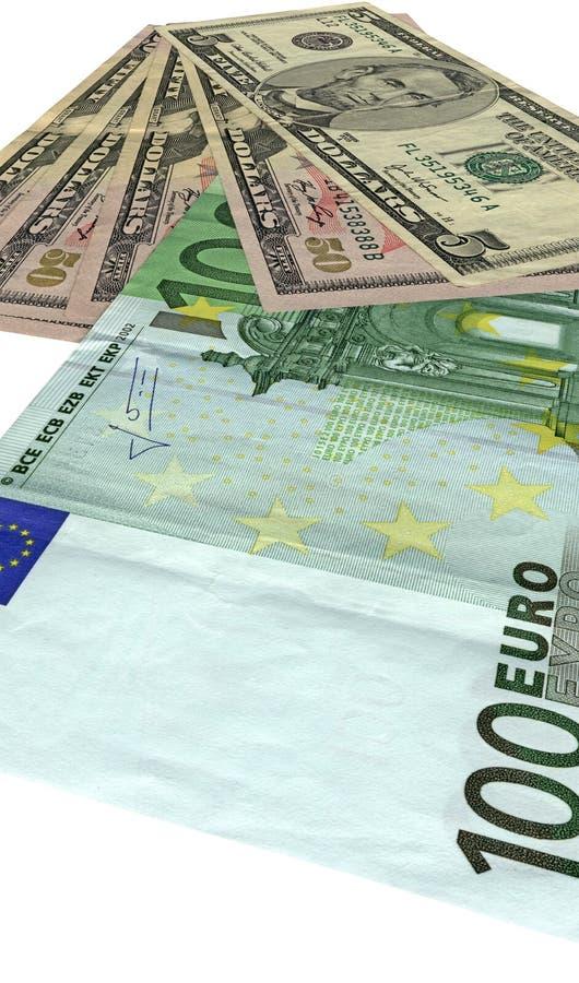 Apile, diversos dólares, euros aislados en blanco, fotos de archivo