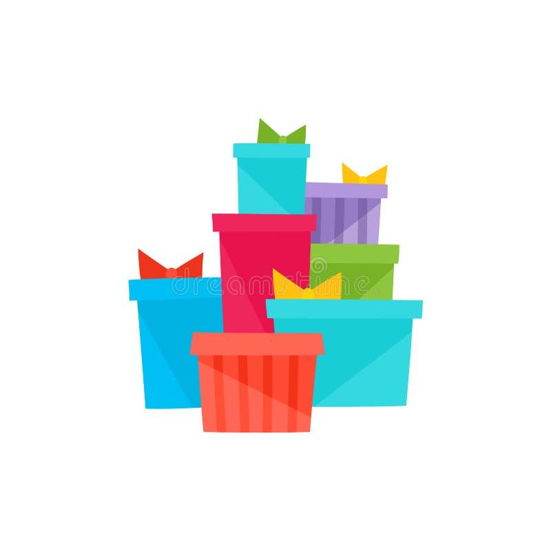Apile, pila de la Navidad, regalos de cumpleaños, presentes stock de ilustración