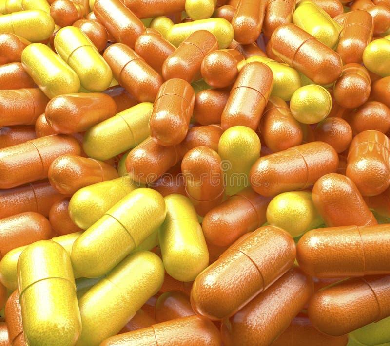 Apile, piscina de las píldoras de la vitamina con la naranja y superficie del limón, tabletas de la medicina ilustración del vector