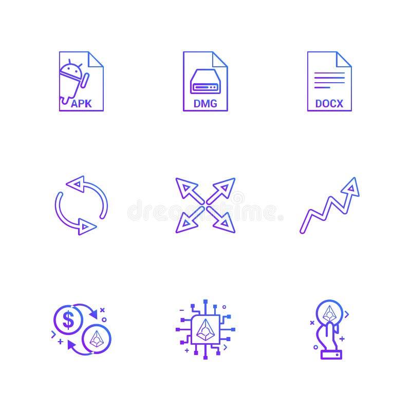 Apk, android, dmg, jabłko, docx, docuument, reset, strzała, ilustracja wektor