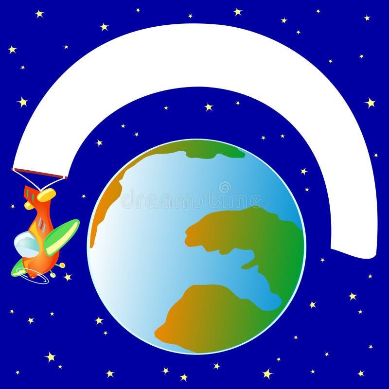 Aplane com bandeira branca, em torno do mundo ilustração royalty free