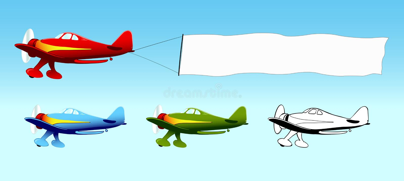 Aplane com a bandeira em branco do céu, anúncio aéreo ilustração royalty free