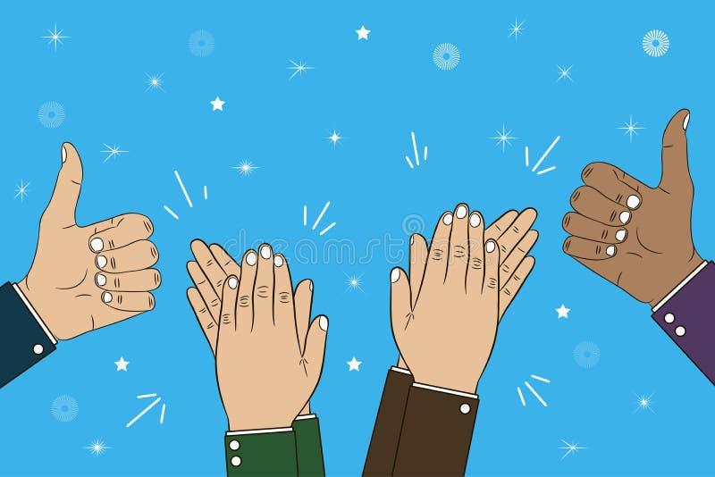 Aplauso, aplauso e polegar de mãos acima do gesto - bravo Ilustração do conceito das felicitações Vetor ilustração stock