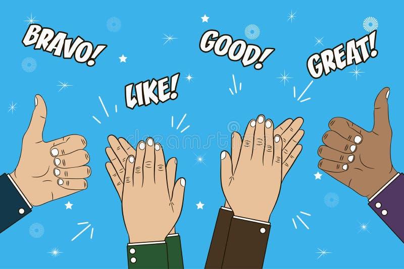 Aplauso, aplauso e polegar de mãos acima do gesto Ilustração do conceito das felicitações com texto - bravo, grande, como, bom Ve ilustração royalty free