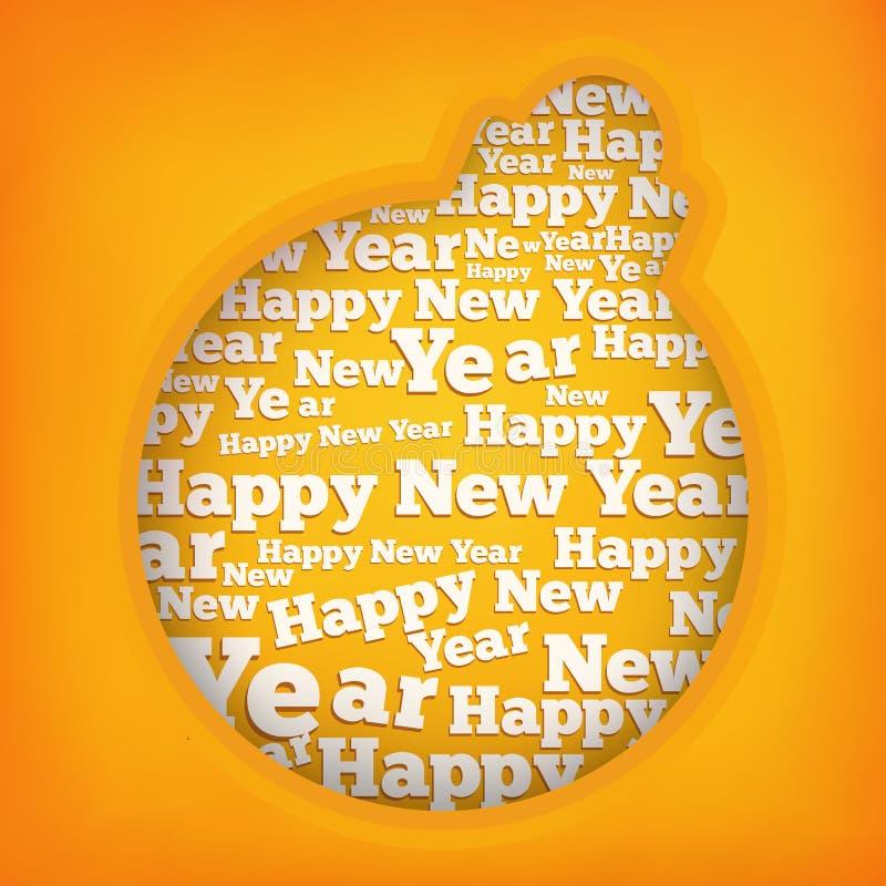 Aplicação abstrata da bola do Natal com texto do ano novo feliz ilustração royalty free