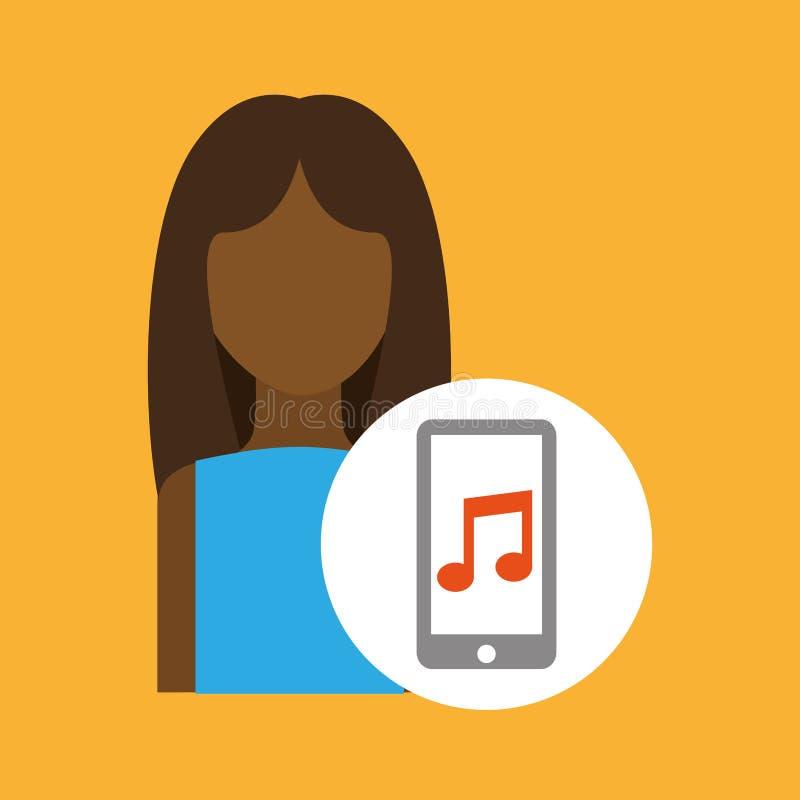 Aplicação afro da música do smartphone da mulher do caráter ilustração stock